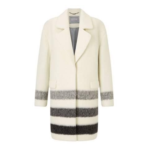 Grace & Oliver Cream Wool Blend Lexi Stripe Border Coat