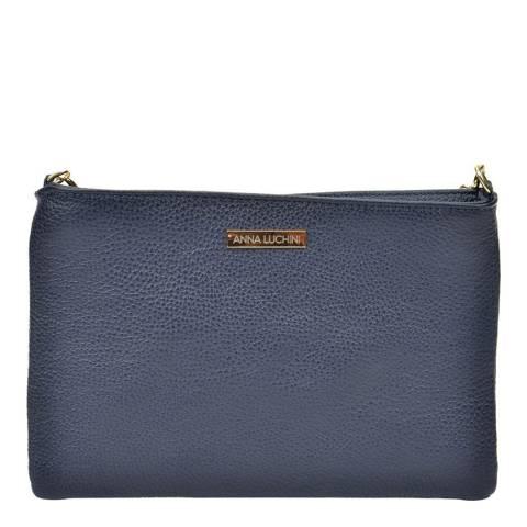 Anna Luchini Blue Leather Shoulder Bag