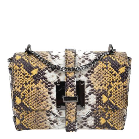 Roberta M Yellow Snakeskin Leather Shoulder Bag
