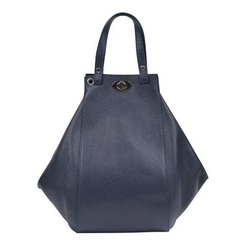 Anna Luchini Blue Leather Top Handle Bag