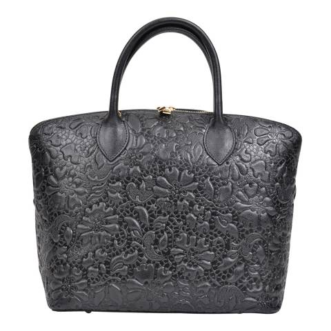 Anna Luchini Black Leather Flower Embossed Top Handle Bag