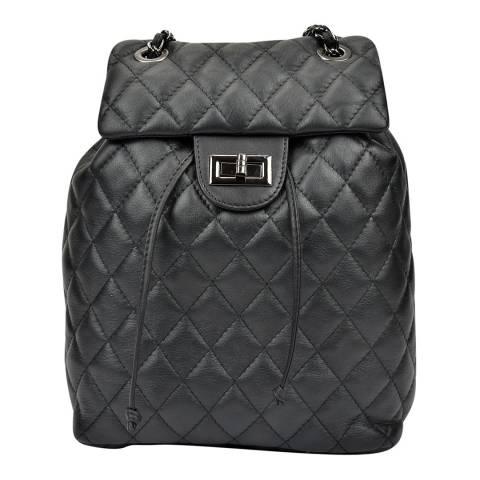 Anna Luchini Black Leather Diamond Stitch Backpack