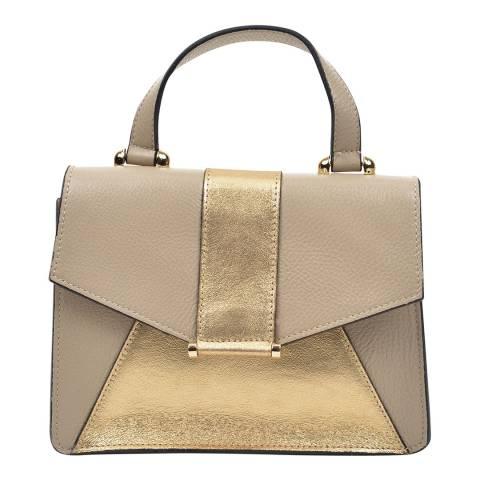 Anna Luchini Beige / Gold Leather Shoulder Bag