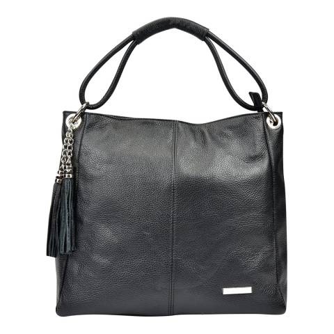Anna Luchini Black Leather Tassel Top Handle Bag