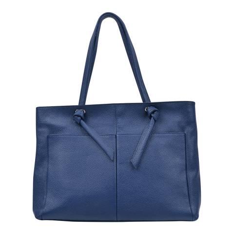 Anna Luchini Blue Leather Top Handle Bag