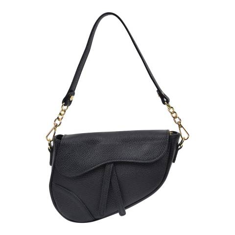 Anna Luchini Black Leather Saddle Shoulder Bag