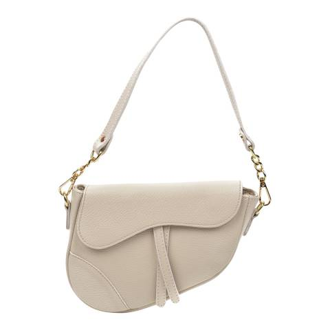 Anna Luchini Beige Leather Saddle Shoulder Bag