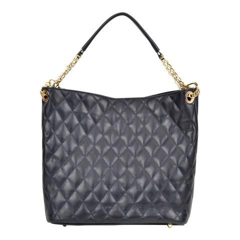 Anna Luchini Dark Blue Leather Top Handle Bag