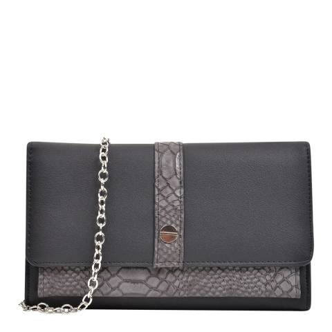 Anna Luchini Black Croc Embossed Clutch Bag