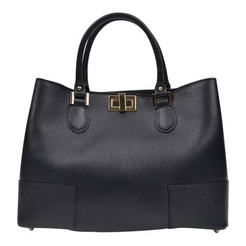 Anna Luchini Black Leather Tote Bag