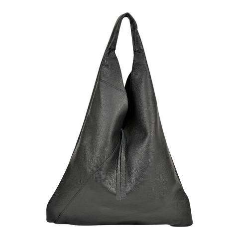 Anna Luchini Black Leather Shopper Bag