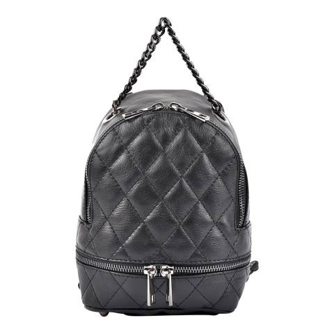 Roberta M Black Quilt Detail Leather Backpack