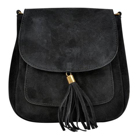 Anna Luchini Black Leather Front Tassel Shoulder Bag