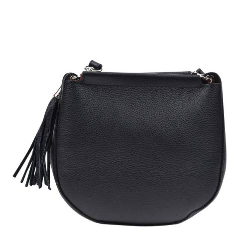 Anna Luchini Black Leather Tassel Shoulder Bag