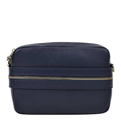 Roberta M Dark Blue Leather Shoulder Bag