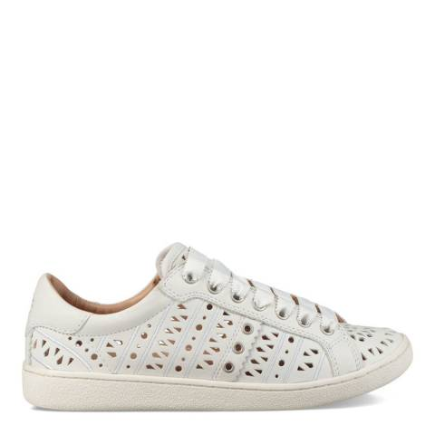 UGG White Leather Milo Perforated Sneakers