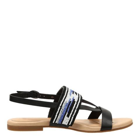 UGG Black Leather Verona Serape Beads Sandals