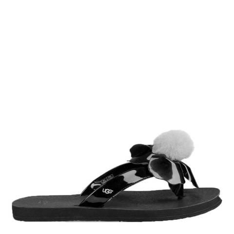 UGG Black Poppy Pom Pom Flip Flops