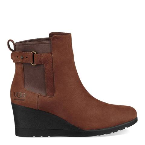 UGG Brown Indra Wedge Heel Ankle Boot