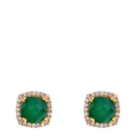 Liv Oliver 18k Gold Plated Emerald Halo Embellished Stud Earrings