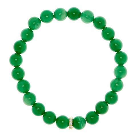 Liv Oliver 18k Gold / Green Onyx And Cubic Zirconia Bracelet