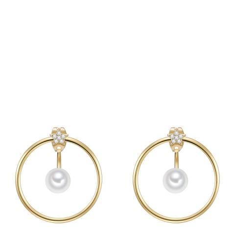 Perldesse Yellow Gold Organic Shell Pearl Hoop Earrings 6mm