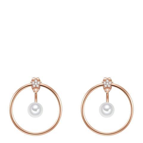Perldesse Rosegold Organic Shell Pearl Hoop Earrings 6mm