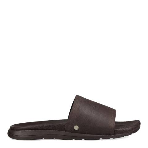 UGG Dark Brown Leather Xavier Luxe Slides