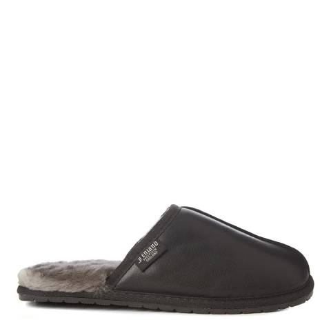 Fenlands Sheepskin Men's Black Leather & Sheepskin Mule Slipper