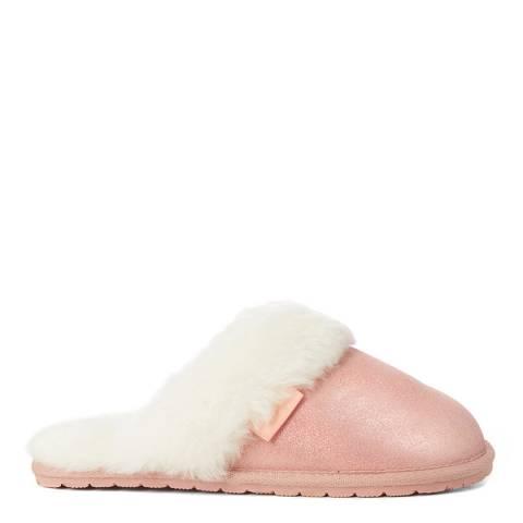 Fenlands Sheepskin Women's Pink Shimmer Sheepskin Mule Slipper