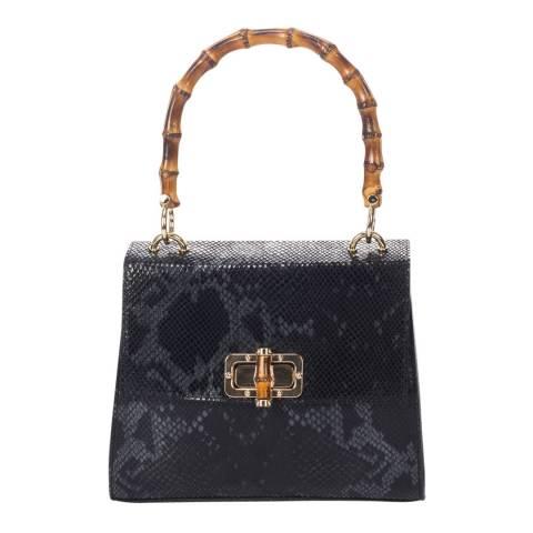 Lisa Minardi Black Leather Printed Snakeskin Top Handle Bag