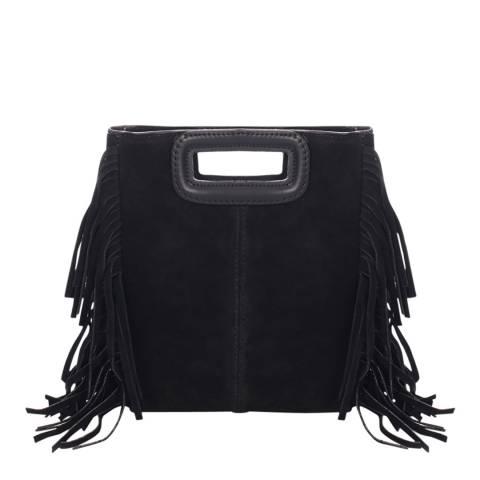 Massimo Castelli Black Suede Fringed Crossbody Bag