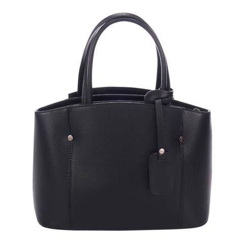 Lisa Minardi Black Leather Top Handle Bag