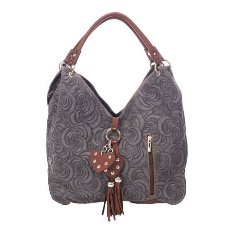 Giorgio Costa Grey / Brown Suede Pattern Shoulder Bag