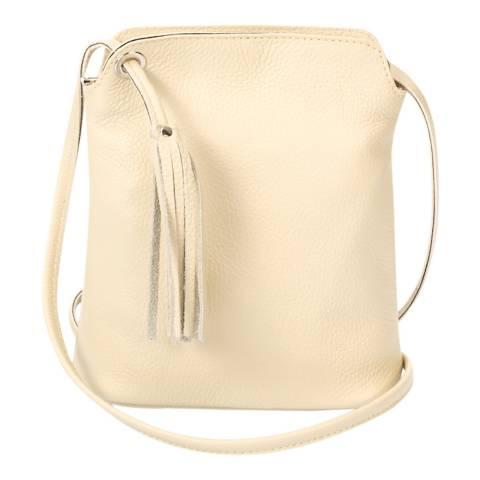 Massimo Castelli Beige Leather Tassel Crossbody Bag