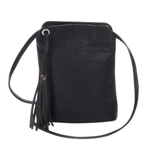 Massimo Castelli Black Leather Tassel Crossbody Bag