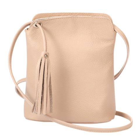 Massimo Castelli Blush Leather Tassel Crossbody Bag