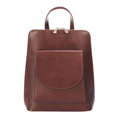 Massimo Castelli Brown Leather Backpack