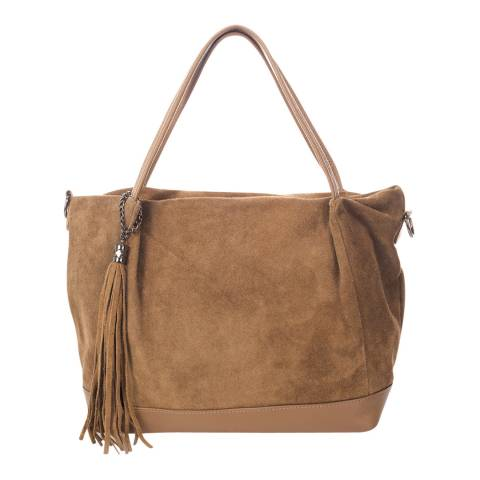 Markese Beige Suede Shoulder Bag