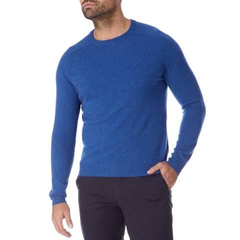Scott & Scott London Denim Blue Cashmere Round Neck Jumper