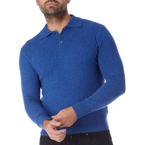 Scott & Scott London Denim Blue Cashmere Polo Jumper