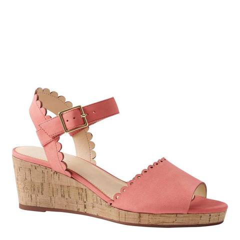 Lands End Fresh Coral Scalloped Wedge Sandals