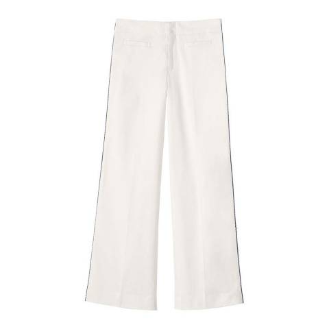 Lands End Ivory Twill Wide Leg Trousers in Twill