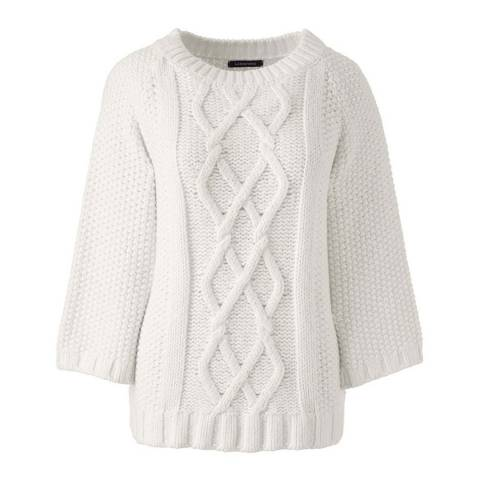 Lands End Ivory Regular Cotton Blend Aran Boatneck Jumper
