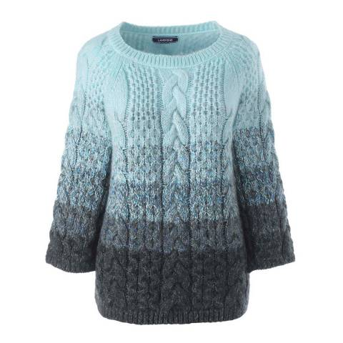 Lands End Sky Light Ombre Mohair Blend Boatneck Jumper