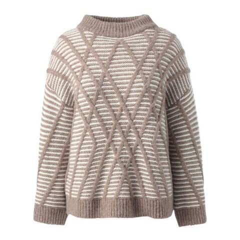 Lands End Ivory/Alpaca Heather Textured Wool Blend Striped Jumper