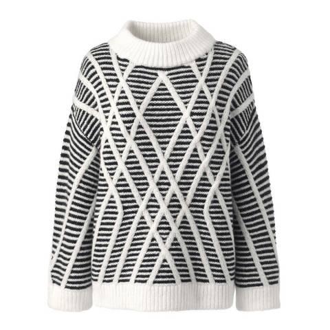 Lands End Black/Ivory Textured Wool Blend Striped Jumper