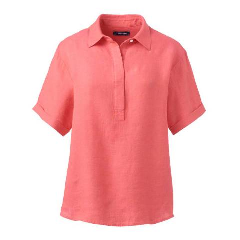 Lands End Light Watermelon Sorbet Short Sleeve Linen Popover Shirt