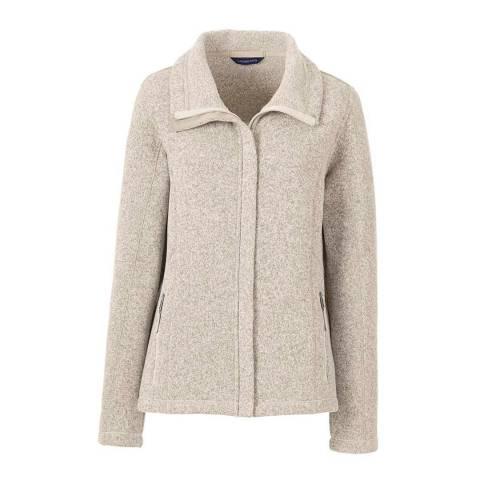 Lands End Oatmeal Heather Regular Sweater Fleece Jacket