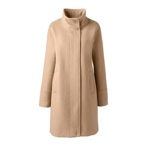 Lands End Soft Camel Wool Blend Coat